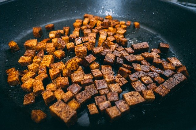 tofu being cooked